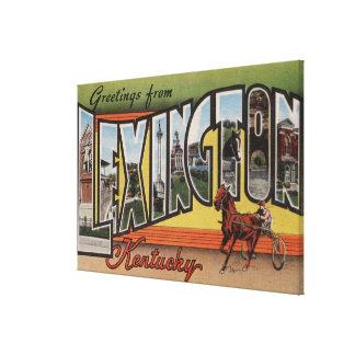 Lexington, Kentucky - Large Letter Scenes Stretched Canvas Print