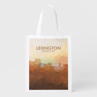 Lexington, Kentucky Skyline IN CLOUDS Reusable Grocery Bag