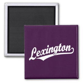 Lexington script logo in white square magnet