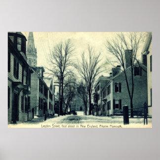 Leyden St Pilgrim Plymouth MA c1908 Poster