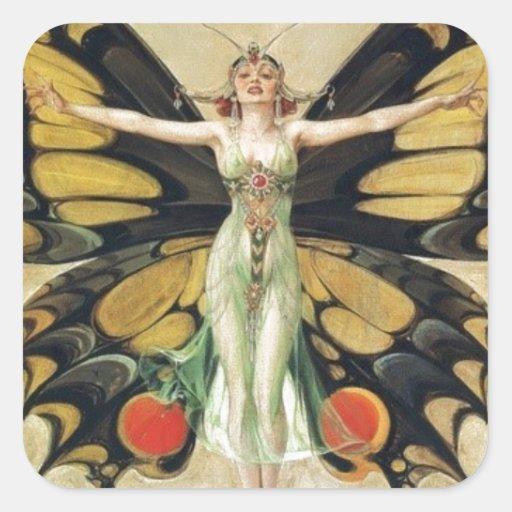 Leyendecker Butterfly Woman Sticker