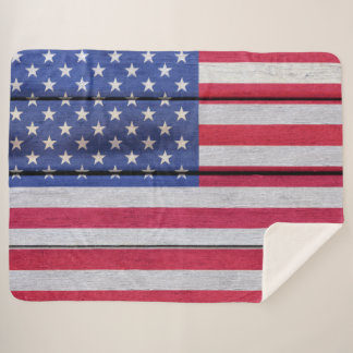 Lg American Flag Wrapped in Love Sherpa Blanket