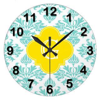 Lg Aqua Damask #3 Yellow Quatrefoil Monogram Large Clock
