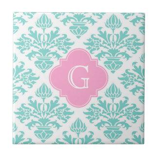 Lg Aqua Floral Damask #3 Pink Quatrefoil Monogram Tile