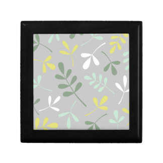 Lg Assorted Leaves Grns Yellow White on Grey Gift Box
