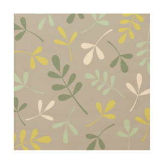 Lg Assorted Leaves Grns Yellow White on Grey Wood Print