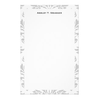 Lg Gray White Floral Damask #3 Gray Monogram Label Stationery