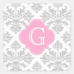 Lg Gray White Floral Damask #3 Pink Monogram Label Sticker