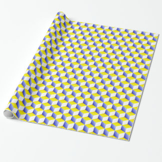 Lg Lt Blue Yellow White Shaded 3D Look Cubes Wrapping Paper