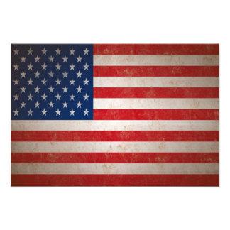 Lg Vintage Grunge Style American Flag Photo Print