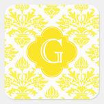 Lg Yellow Damask Yellow Quatrefoil Monogram Stickers