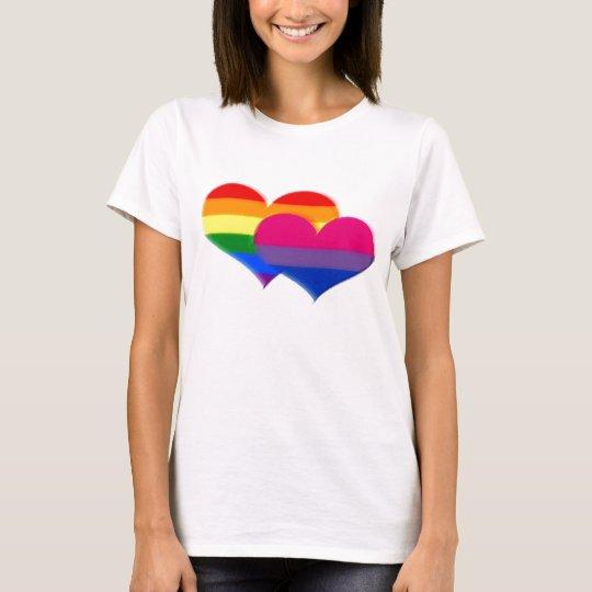 LGBT Bi Pride Pastel Hearts T-Shirt