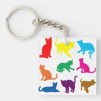 LGBT Cats Double-Sided Square Acrylic Key Ring