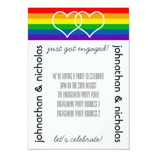 LGBT Flag Gay Engagement Party Invitation