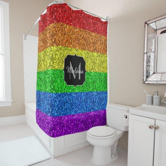 LGBT Flag Vibrant Rainbow Glitter Sparkle Monogram Shower Curtain