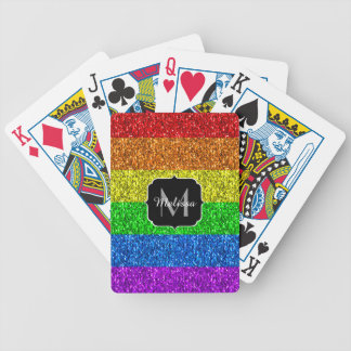 LGBT flag vibrant sparkles Monogram Bicycle Playing Cards