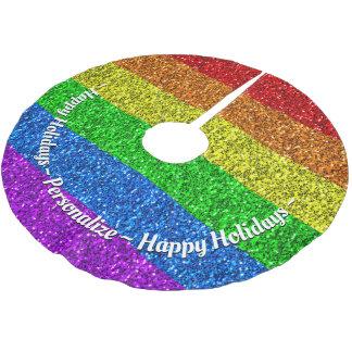 LGBT flag vibrant sparkles Monogram Brushed Polyester Tree Skirt