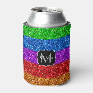 LGBT flag vibrant sparkles Monogram Can Cooler