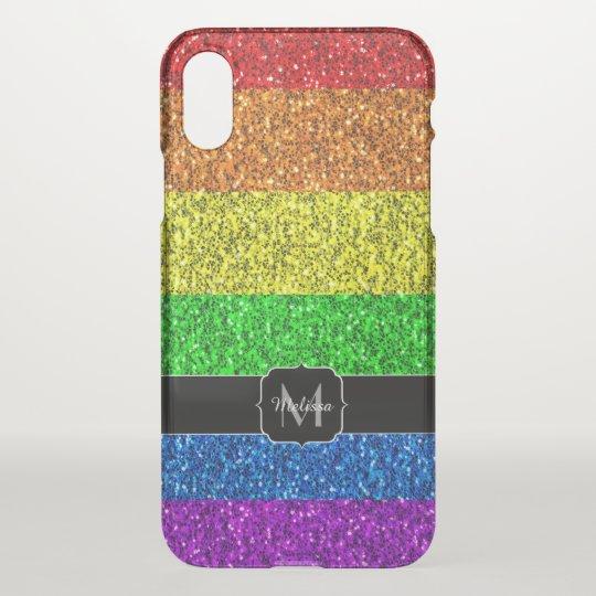 LGBT flag vibrant sparkles Monogram Uncommon iPhone X