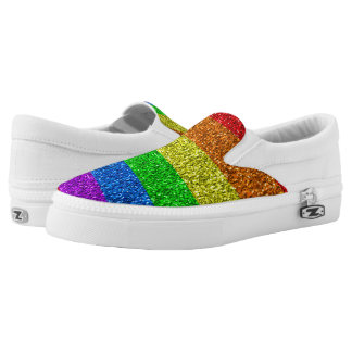 LGBT flag vibrant sparkles Slip-On Shoes