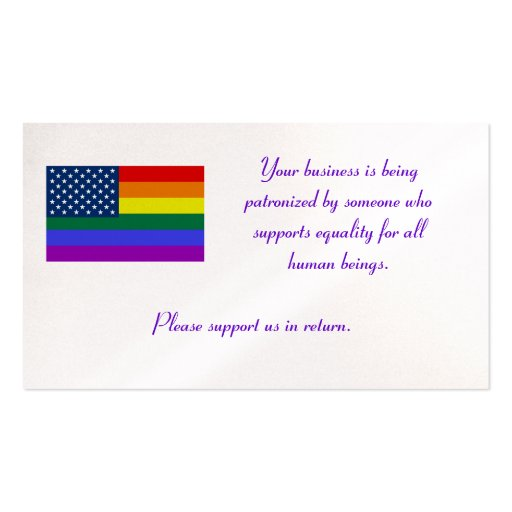 LGBT Flag, Your business is being patronised by... Pack Of Standard Business Cards