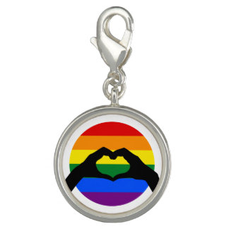 LGBT Gay Pride Rainbow and Heart Hand Silhouette