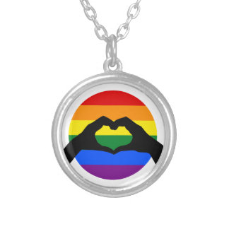 LGBT Gay Pride Rainbow and Heart Hand Silhouette Silver Plated Necklace