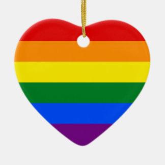 LGBT Gay Pride Rainbow Flag Stripe Ceramic Heart Decoration