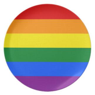 LGBT Gay Pride Rainbow Flag Stripe Plate