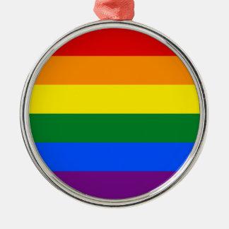 LGBT Gay Pride Rainbow Flag Stripe Silver-Colored Round Decoration