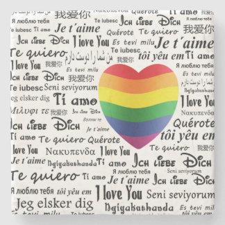 LGBT I Love You Stone Coaster