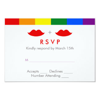 LGBT Lesbian Lips Rainbow Wedding Card