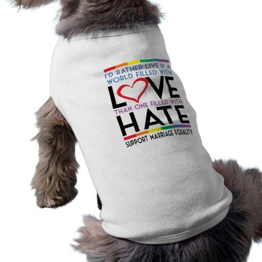 LGBT Love Over Hate Pet Tshirt