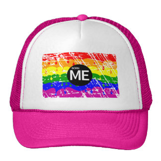 LGBT Pride Flag Dripping Paint Born Me Mesh Hat
