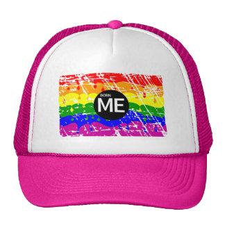 LGBT Pride Flag Dripping Paint Born Me Mesh Hat