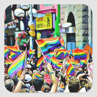 LGBT Rainbow and American Flags Protest  Stickers