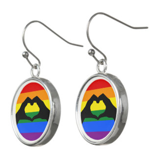 LGBT Rainbow and Heart Hand Silhouette Earrings