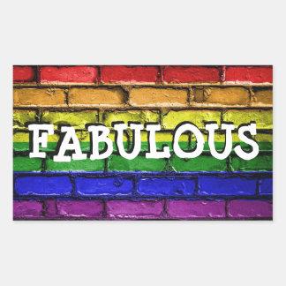 LGBT Rainbow Brick Wall Fabulous Heart Stickers