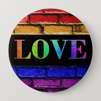 LGBT Rainbow Brick Wall Love  Button
