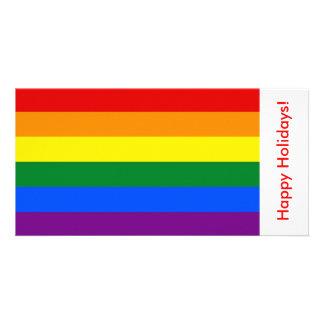 LGBT Rainbow Flag, Happy Holidays Customized Photo Card