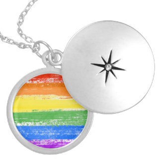 LGBT RAINBOW FLAG PAINT SILVER PLATED NECKLACE