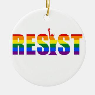 LGBT Rainbow Flag Resist Gay Pride Equal Rights Christmas Ornament