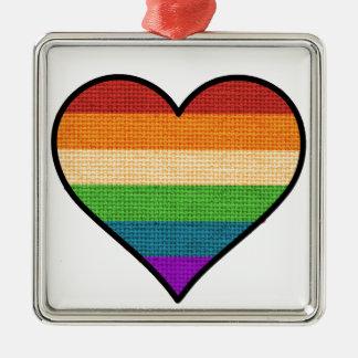 LGBT Rainbow Heart Holiday Ornament