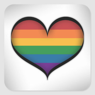 LGBT Rainbow Heart Square Sticker