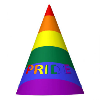 LGBT Rainbow Pride Flag & Pride Text Party Hat