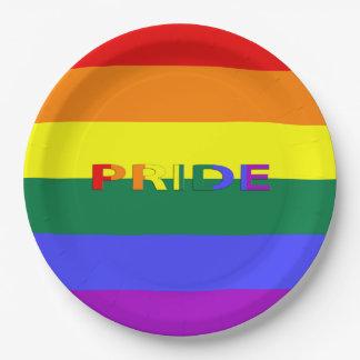 "LGBT Rainbow Pride Flag & Word 9"" Paper Plates"