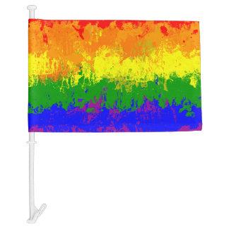 LGBT Rainbow Pride Paint Splatter Car Flag