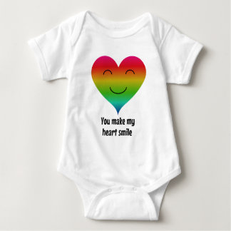LGBT rainbow you make my heart smile Baby Bodysuit
