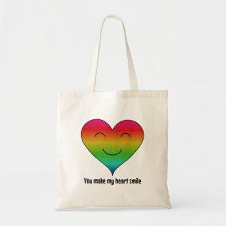 LGBT rainbow you make my heart smile Budget Tote Bag