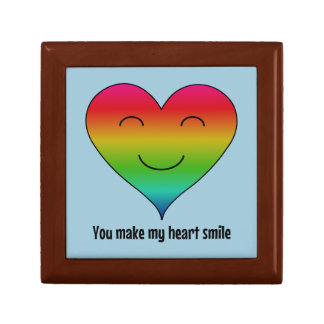 LGBT rainbow you make my heart smile Small Square Gift Box
